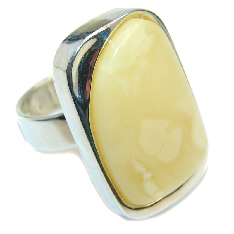 Genuine Butterscotch AAA Baltic Amber Sterling Silver Ring s. 7 1/4 adjustable