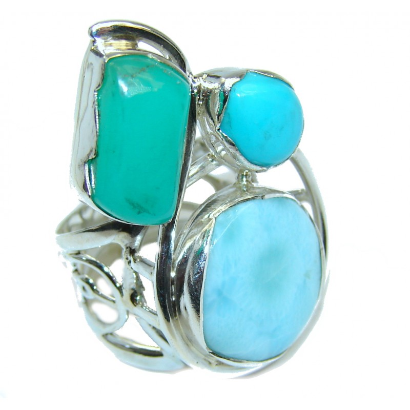 Always Together Blue Larimar Chrysophrase Sterling Silver Ring s. 7
