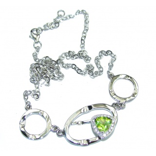 Genuine AAA Green Peridot Sterling Silver Necklaces