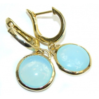 Ocean Secret Blue Botswana Agate Gold over Sterling Silver earrings