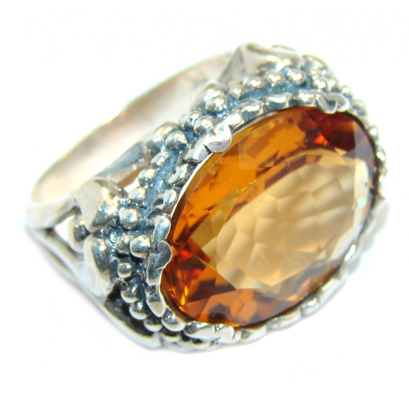 Big! Very Beautiful Golden Topaz Sterling Silver ring s. 10