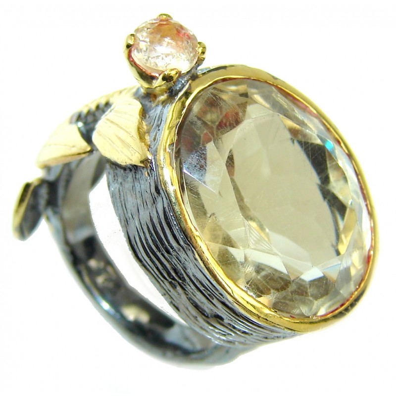 Sublime Citrine Gold Rhodium plated over Sterling Silver Ring s. 7