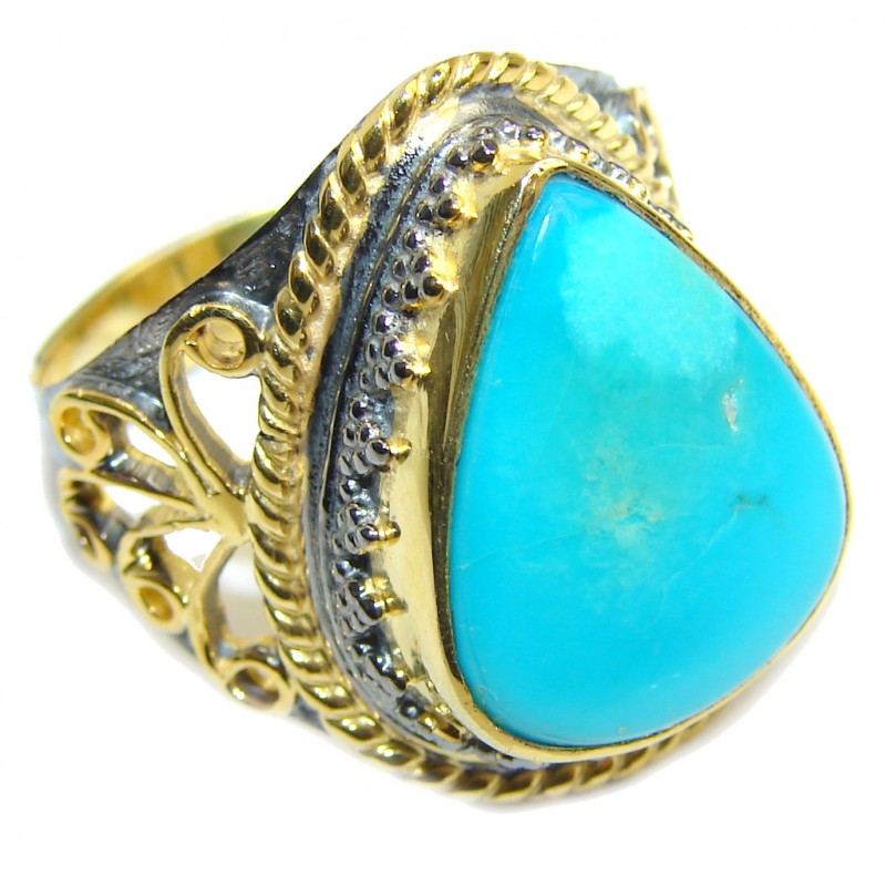 Sleeping Beauty Blue Turquoise, Rose Gold Plated, Rhodium Plated Sterling Silver Ring s. 9