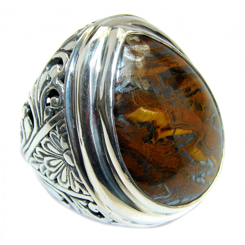 Totally Oversized AAA Iron Tigers Eye Sterling Silver ring s. 8