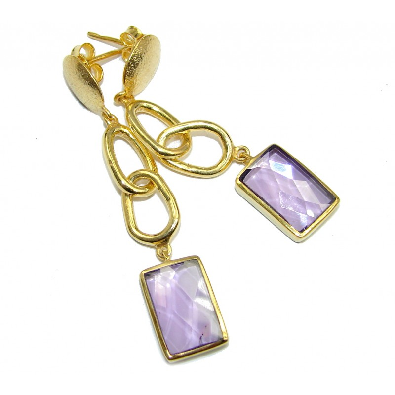 Perfect Gift Lilac Quartz Gold Over Sterling Silver Earrings