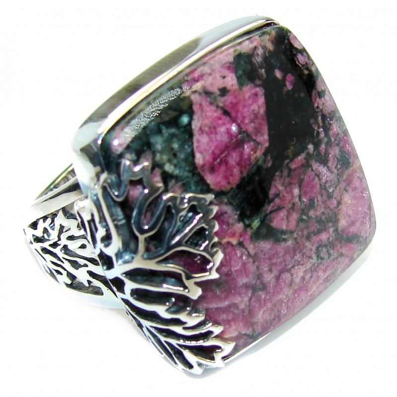Natural AAA Russian Eudialyte Sterling Silver Ring s. 8 adjustable