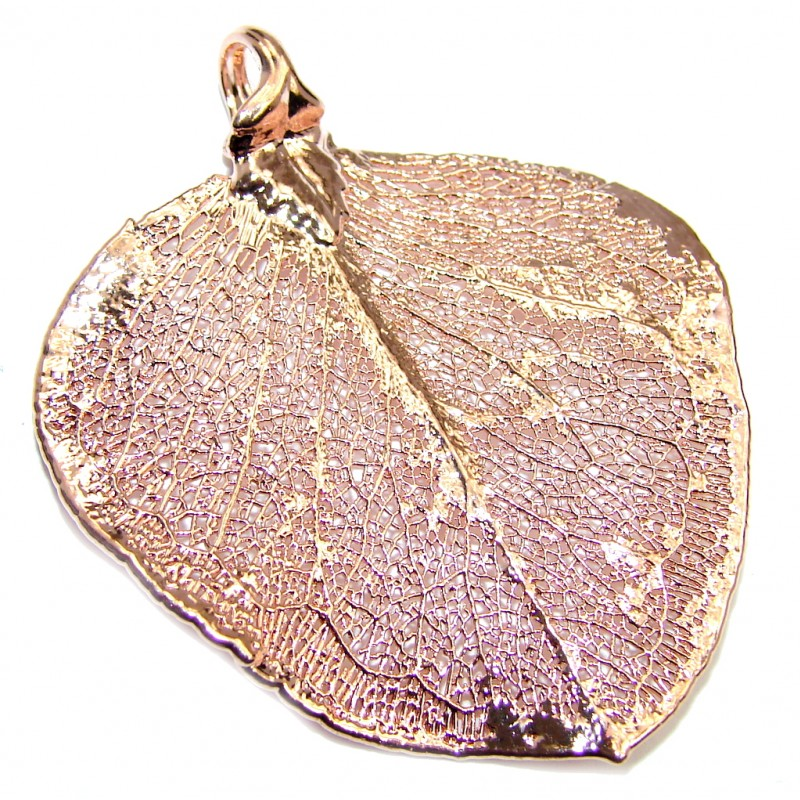 Gold Plated real Leaf Sterling Silver Pendant