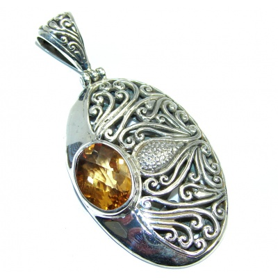 Genuine handcrafted Yellow Citrine Sterling Silver Pendant