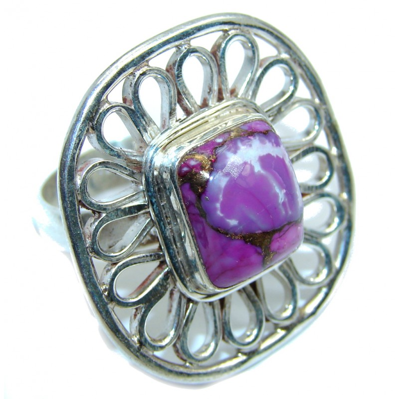 Purple Copper Turquoise Sterling Silver ring s. 8