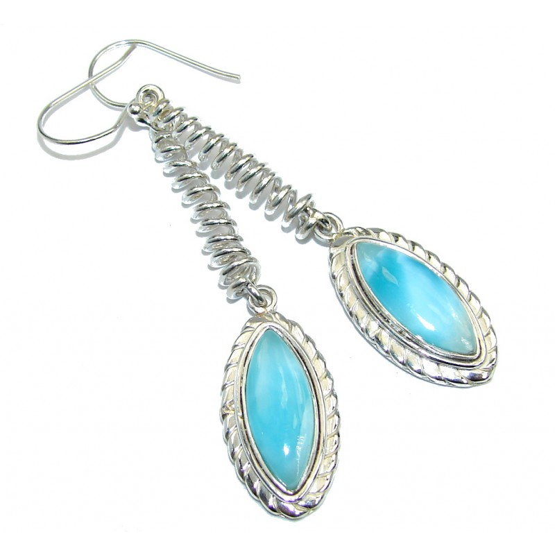 Long Very Unusual Blue Larimar Sterling Silver earrings