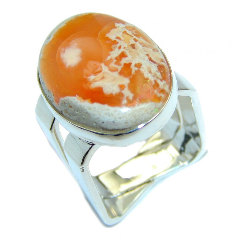 Fabulous Mexican Fire Opal Sterling Silver Ring s. 6 1/2