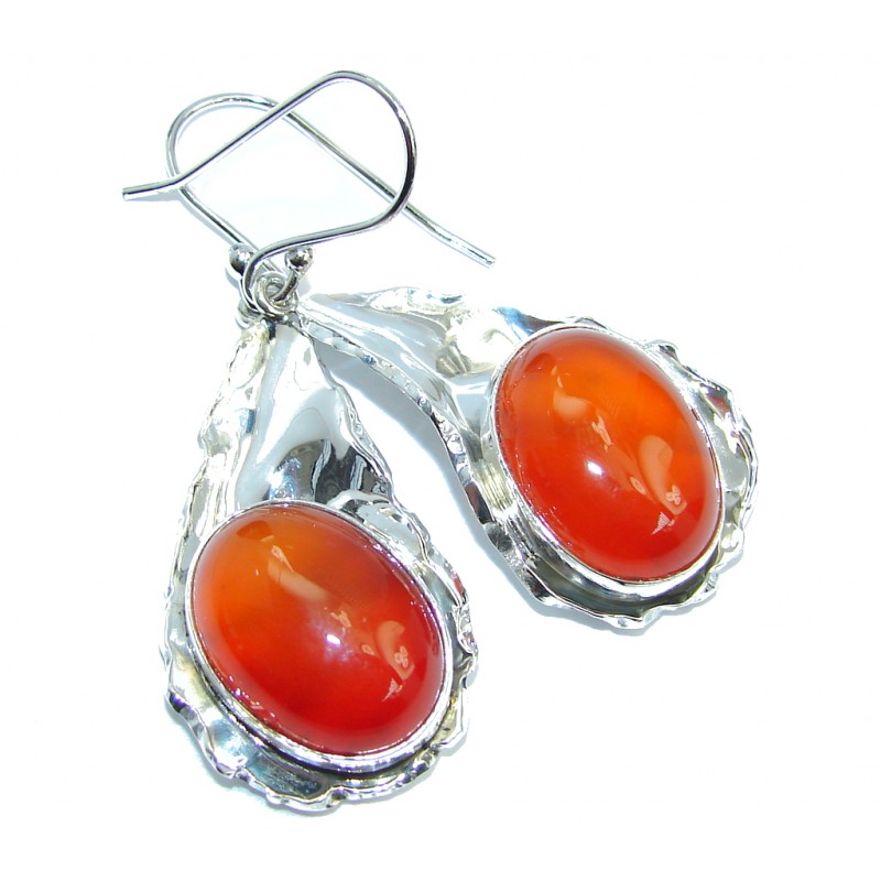 Simple Beauty Orange Carnelian Hammered Sterling Silver earrings