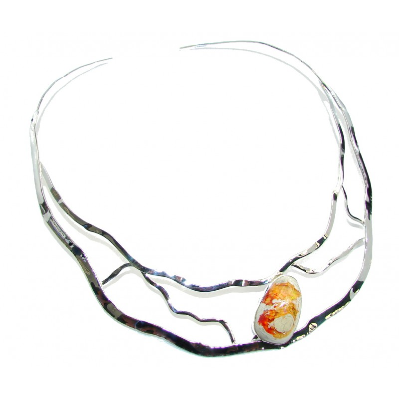 Natural Mexican Fire Opal Sterling Silver necklace Chocker