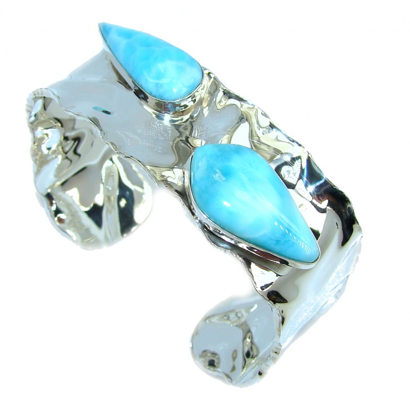 Love's Legacy AAA Blue Larimar hammered Sterling Silver Bracelet / Cuff