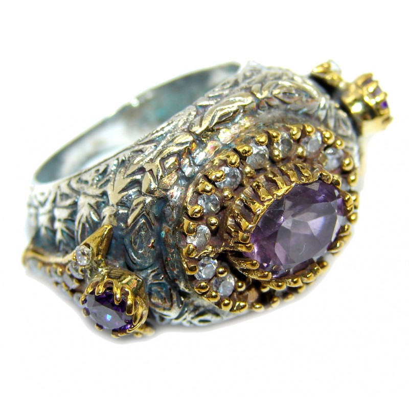 Excellend Purple Cubic Zirconia Oxidized Sterling Silver Ring s. 8 1/2