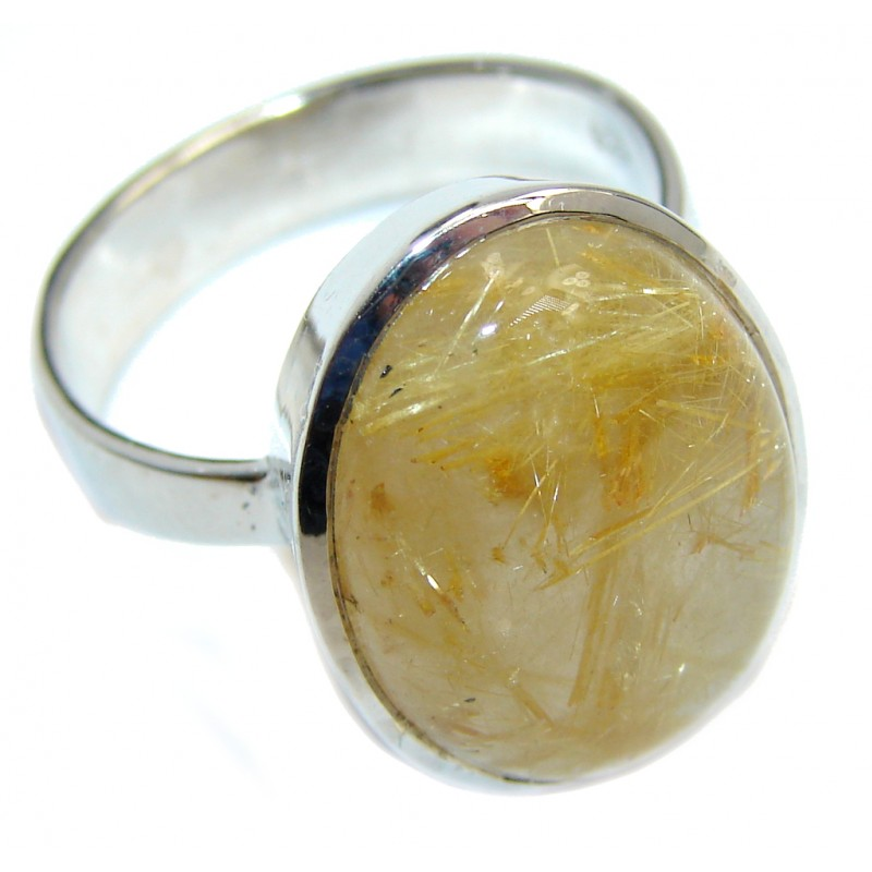 Secret Island AAA Golden Rutilated Sterling Silver Ring s. 10