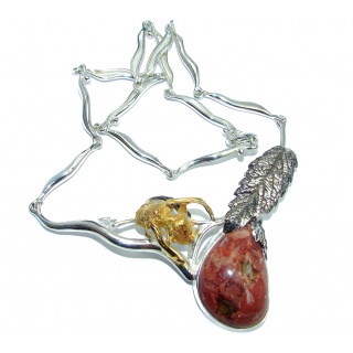 Resting Bee Mexican Fire Opal Gold plated Sterling Silver Necklaces