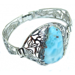 Perfect Design AAA Blue Larimar Sterling Silver Bracelet / Cuff