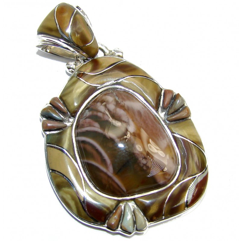 Elite AAA+ quality Brown Imperial Jasper Sterling Silver Pendant