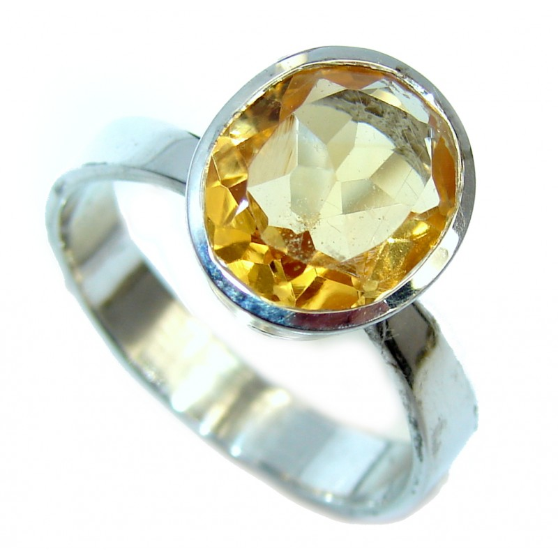 Faceted Citrine Sterling Silver Handcrafted Ring s. 10