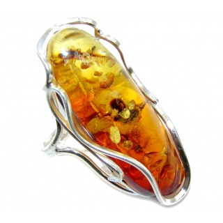 Chunky Oversized Genuine Polish Amber Sterling Silver Ring s. 10 1/2