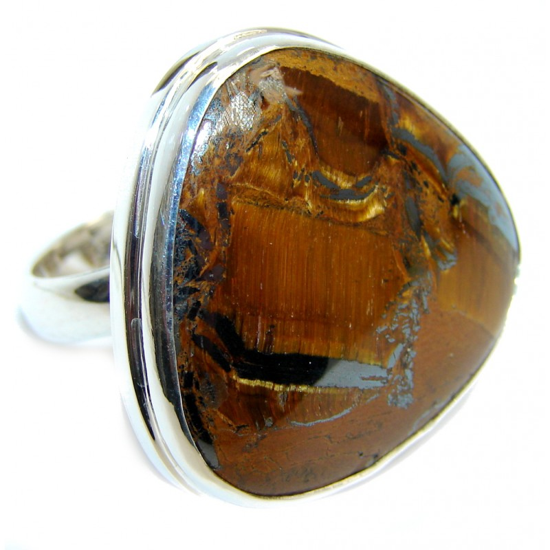 Totally Amazing AAA Gold Tigers Eye Sterling Silver ring s. 8 adjustable