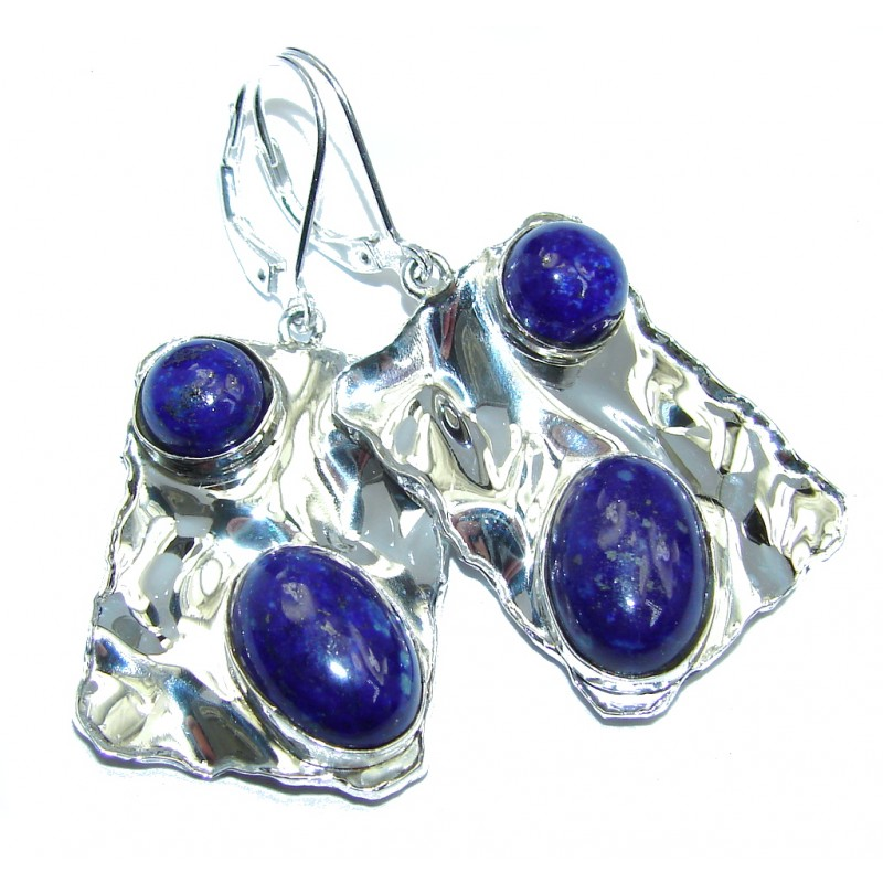 Perfect Blue Lapis Lazuli hammered Sterling Silver earrings