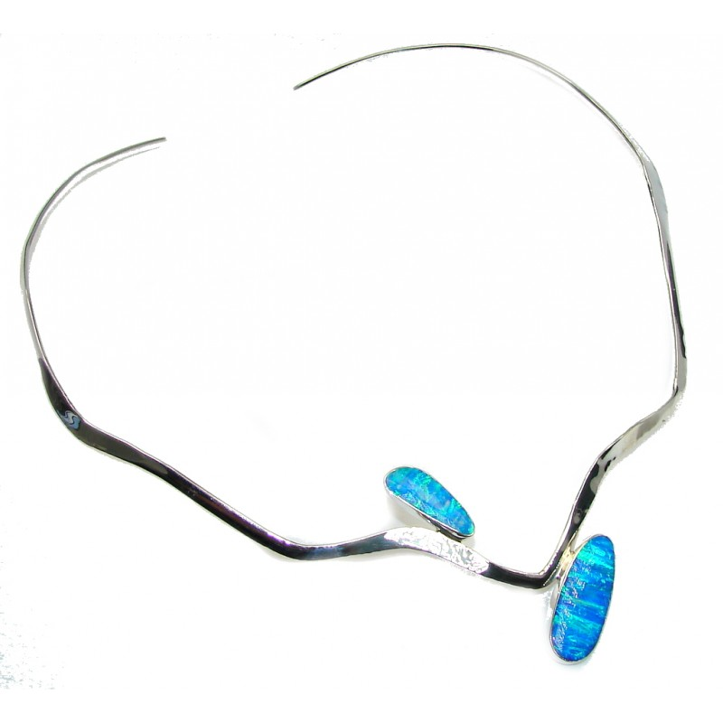 Modern Concept AAA Blue Japanese Fire Opal hammered Sterling Silver Necklaces