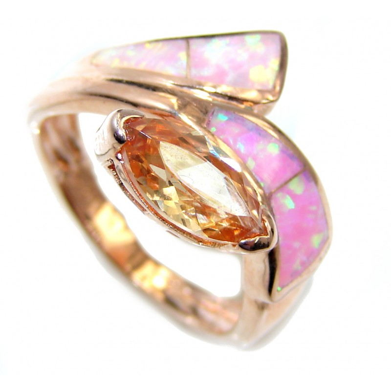 Great Beauty Japanese Fire Opal Gold Over Sterling Silver ring s. 5 1/2