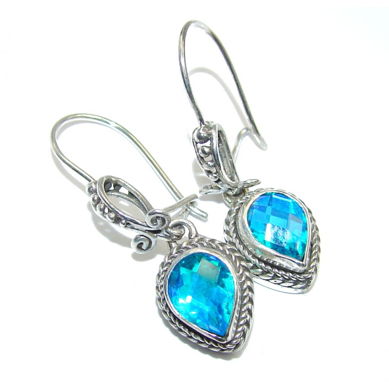 Secret Ocean Blue Aqua Topaz Sterling Silver Earrings