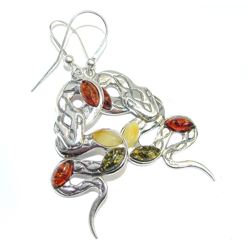 Snakes Polish Amber Sterling Silver Earrings