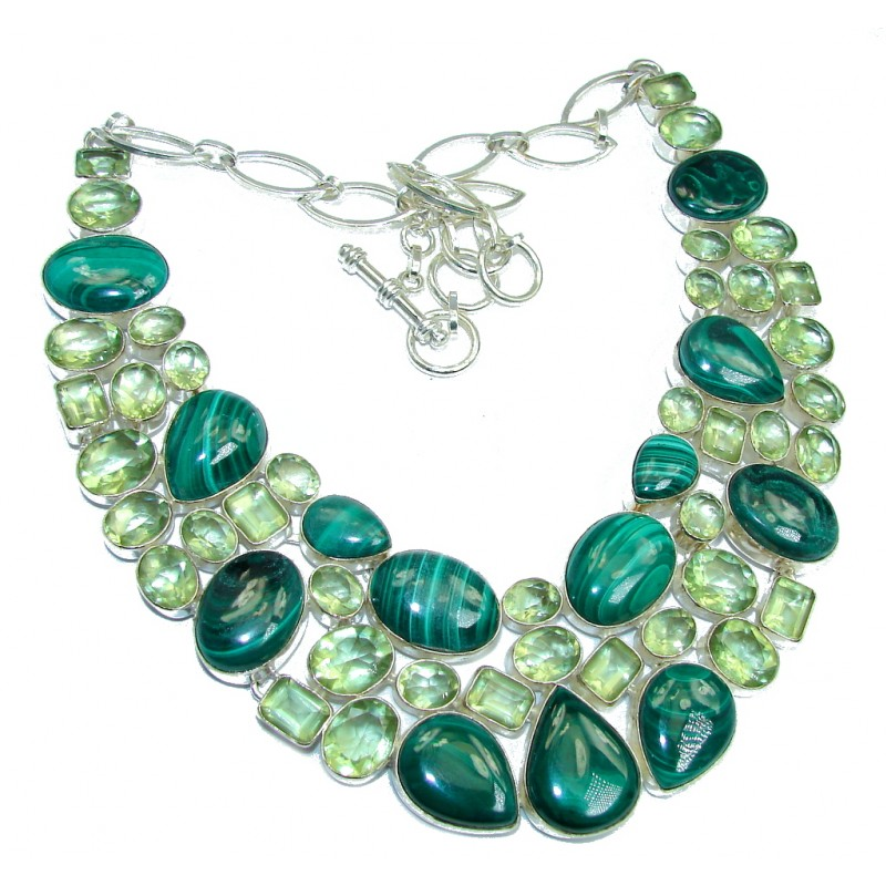 Huge! Aura Of Beauty Green Malachite Green Topaz Sterling Silver necklace