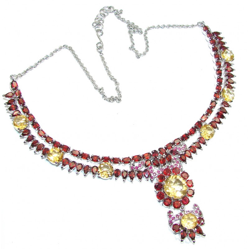 Light Of Love AAA Genuine Red Garnet & Citrine Sterling Silver Necklace