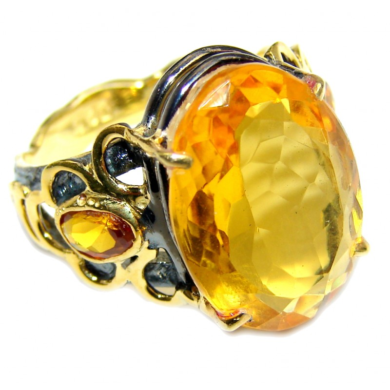 Fceted Citrine Gold Rhodium plated over Sterling Silver Handcrafted Ring s. 8 3/4