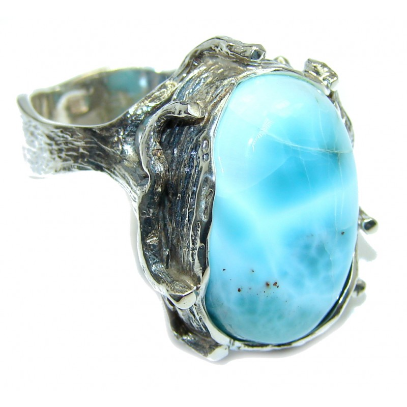Amazing AAA quality Blue Larimar Sterling Silver Ring s. 8 3/4