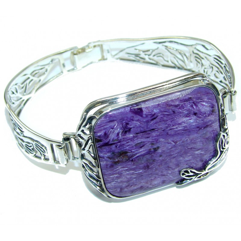 Gorgeous Design AAA Siberian Charoite Sterling Silver Bracelet / Cuff