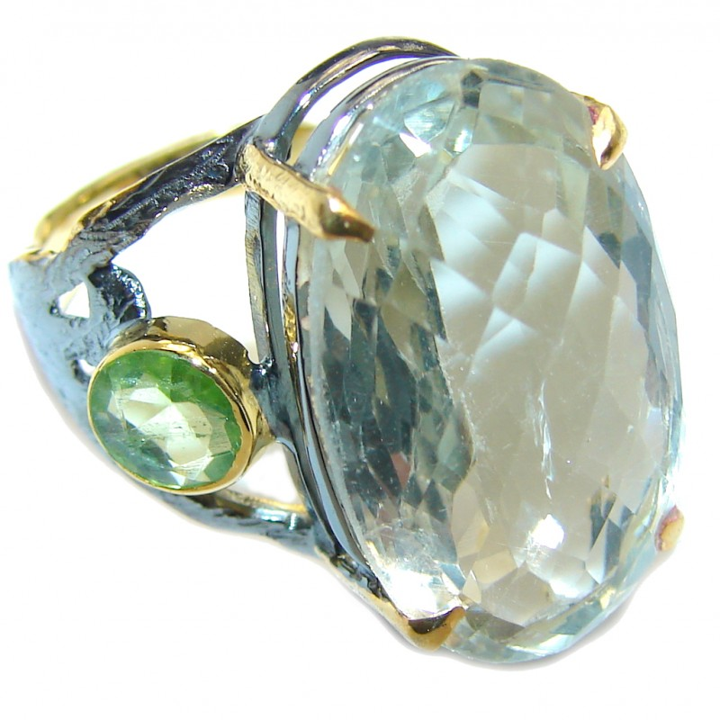 Sublime Green Amethyst Gold Rhodium Plated Sterling Silver ring s. 7