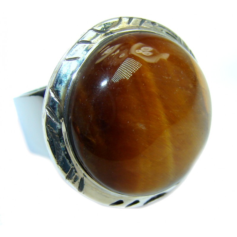 Perfect Brown Tigers Eye Sterling Silver ring s. 6