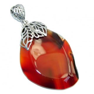 Orange Mesmerizing Botswana Agate Sterling Silver Pendant