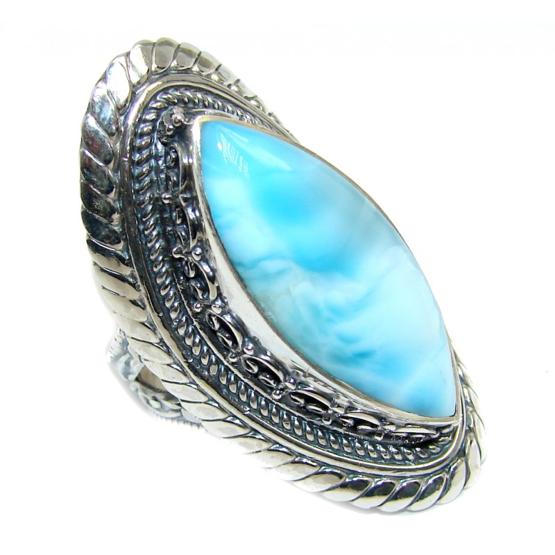 Amazing AAA quality Blue Larimar Sterling Silver Ring s. 8 1/2