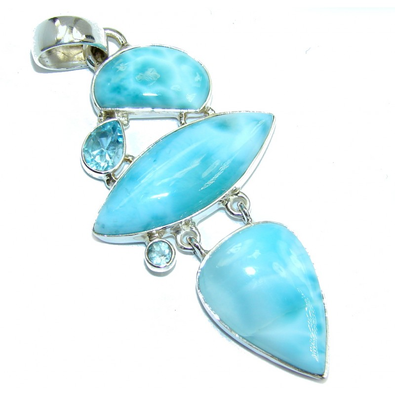 Genuine AAA Blue Larimar & Blister Pearl Sterling Silver Pendant