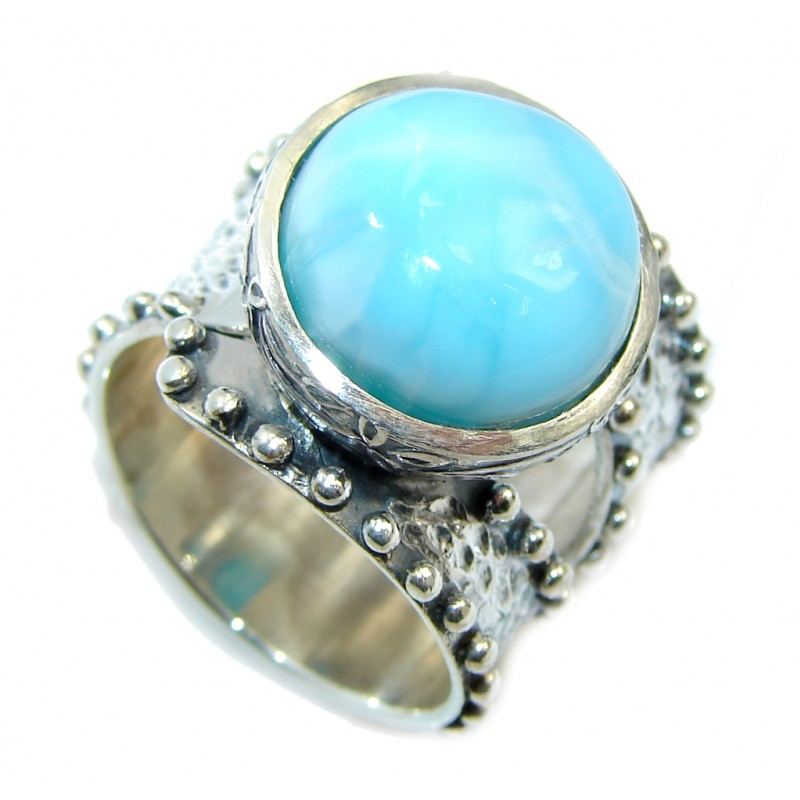 Amazing AAA quality Blue Larimar Oxidized Sterling Silver Ring s. 6 3/4 adjustable
