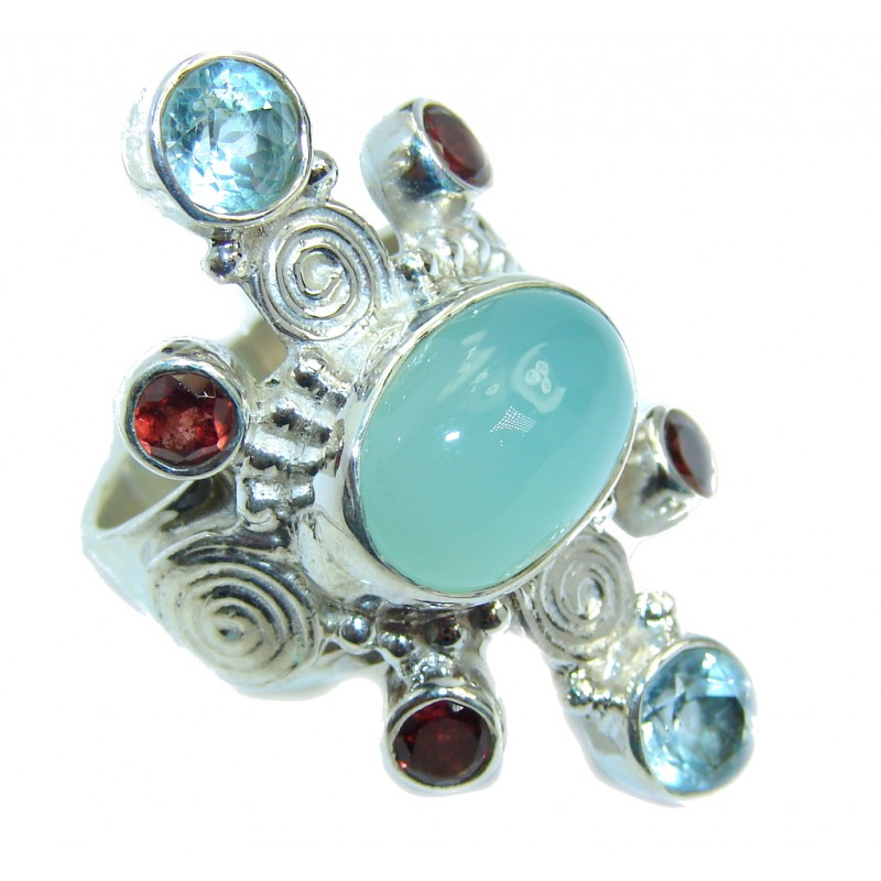 Royal Beauty Aqua Botswana Agate Sterling Silver Ring s. 8
