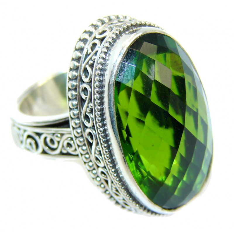 Vintage Style Light Green Quartz Sterling Silver Ring s. 6