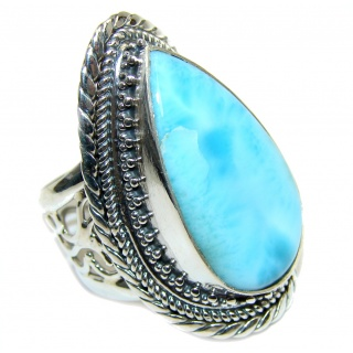 Huge AAA quality Blue Larimar Oxidized Sterling Silver Ring size adjustable