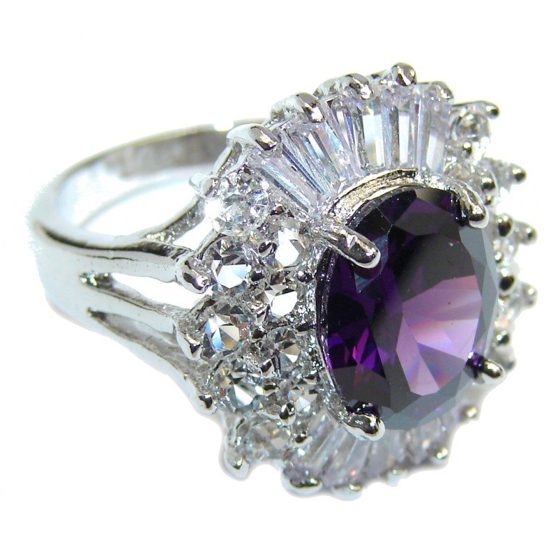 Classic Beauty Purple Cubic Zirconia Sterling Silver ring s. 6