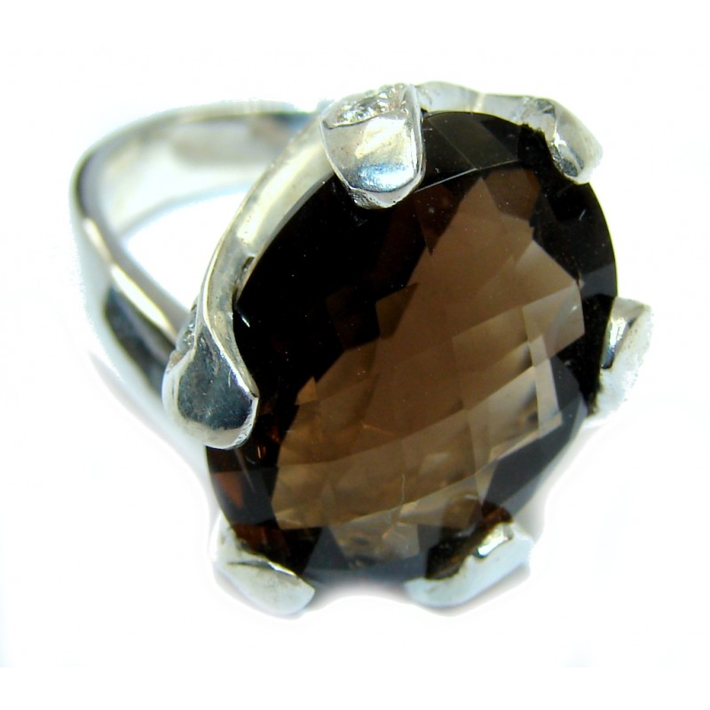 Perfect Brown Smoky Topaz Sterling Silver ring s. 6 3/4