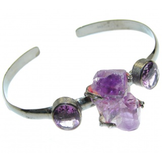 Perfect Design Amethyst Cluster Black Rhodium plated over Sterling Silver Bracelet / Cuff