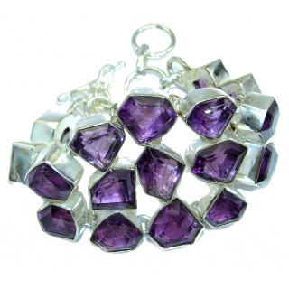 Chunky Faceted Amethyst Sterling Silver handcrafted Bracelet