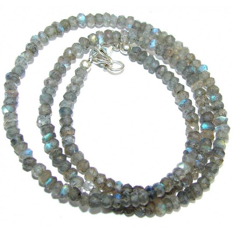 Amazing Genuine Fire Labradorite Sterling Silver Necklace